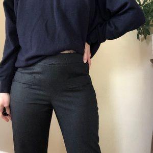 CHANEL charcoal high waisted wool straight pants